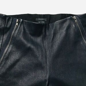Theory Size 00 NWOT Navy Leather Pants w/ Zippers